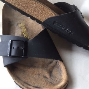 Ladies Black Leather Birkenstock Sandals Size 9